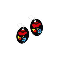 Earring - hungarian folk pattern - Kalocsa style - black
