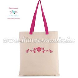 Matyó pamutvászon natúr táska - gépi hímzés - pink