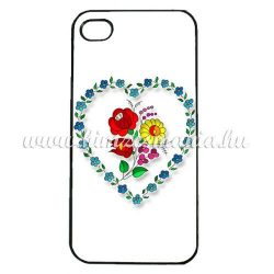 Phone case - hungarian folk heart-shaped pattern - Kalocsa style - iPhone - Samsung - white