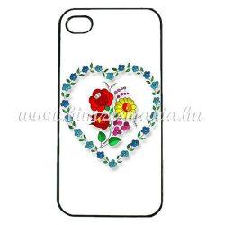 Mobiltelefon tok - szív alakú kalocsai mintás - iPhone - Samsung - szilikon/műanyag - fehér