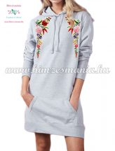 Lognline hoodie - folk embroidered - Kalocsa style - handmade - gray