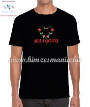 HUNGARY feliratos hímzett férfi póló matyó szív mintával - fekete