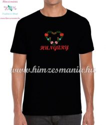 Men's T-Shirts - HUNGARY inscription - machine embroidered - Matyo heart - black