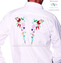 Gents Shirt Long Sleeve - hungarian folk fashion - Kalocsa style - machine embroidery - White