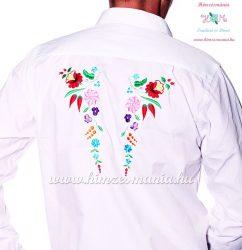 Gents Shirt Long Sleeve - hungarian folk fashion - Kalocsa style - machine embroidery - White