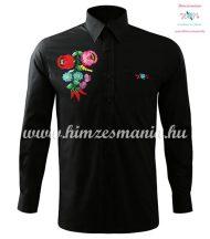Hosszú ujjú férfi ing kézi hímzésű kalocsai mintával - fekete