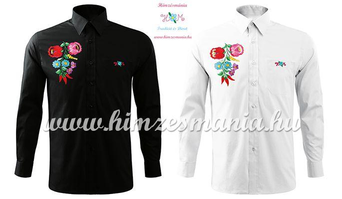 807b7eed05 Hosszú ujjú férfi ing kézi hímzésű kalocsai mintával - fekete ...