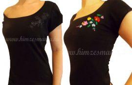 Hímzésmánia - hímezhető kalocsai mintás póló - fekete