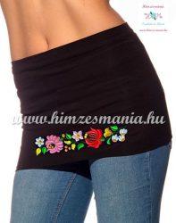 Fekete női derékmelegítő kalocsai mintás hímzett