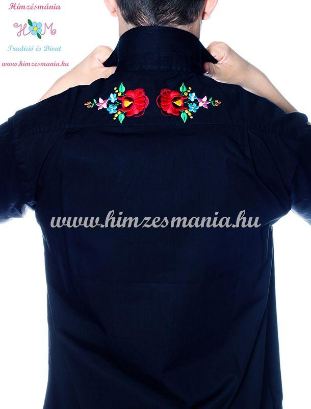 bec542c49c Kalocsai mintás elején-hátulján hímzett férfi ing - Hímzésmánia - fekete