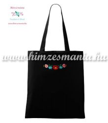 Cotton bag - hungarian folk patterns - machine embroidery - black