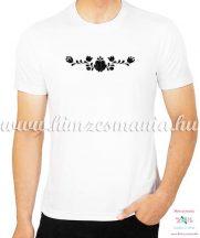 Rövid ujjú férfi póló fekete matyó hímzéssel - Hímzésmánia - fehér