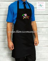 Bib apron - hungarian folk - machine embroidery- Kalocsa pattern - unisex - black