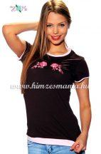 T-shirt - hungarian folk machine embroidered - Kalocsa rose - braun