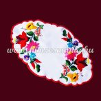 Tablecloth with hungarian folk embroidery - Kalocsa motif - oval - 20X32 cm