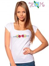 Embroidery Mania - T-shirt hungarian folk machine-embroidered - white