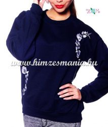 Women sweatshirt - hungarian folk machine embroidery - kalocsai motif - navy