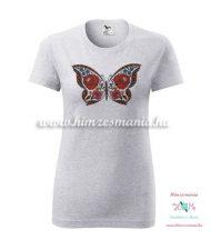 Melírszürke póló - kalocsai pillangós -nyomott minta