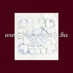 Pre-stamped placemat - embroidery riselin - Kalocsa motif - rectangular - 12x12 cm