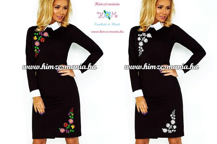 578d9e1e65 Fehér galléros elegáns női ruha - fekete - fehér kalocsai minta - gépi  hímzés