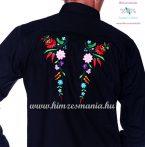 Gents Shirt Long Sleeve - hungarian folk fashion - Kalocsa style - machine embroidery - Black