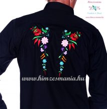 Gents Shirt Long Sleeve - hungarian folk fashion - Kalocsa style - machine embroidery - Black