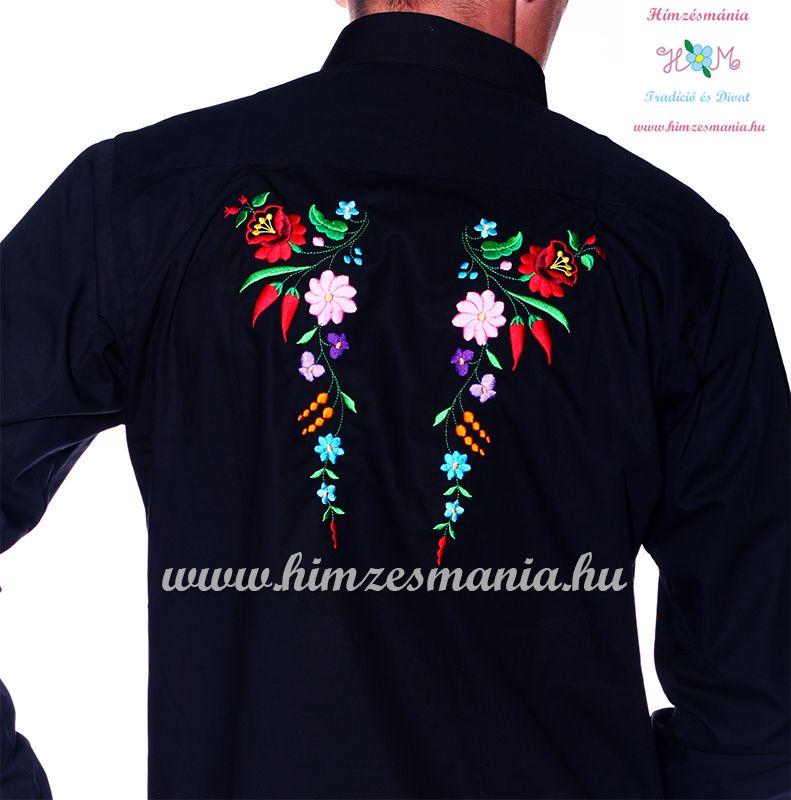efad535729 Kalocsai mintás hosszú ujjú hátulján hímzett férfii ing - Hímzésmánia -  fekete