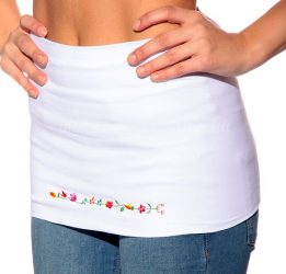 Waist Warmer machine embroidered Kalocsa style - white