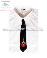 Kids tie - hungarian folk machine embroidery - Kalocsa style - black - Embroidery Mania