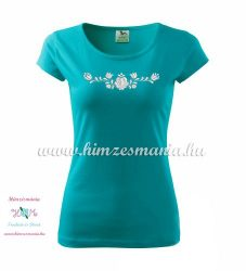 Woman's Short Sleeve T-Shirts - hungarian folk embroidery - Matyo motif - turquoise