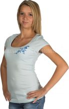 Embroidery Mania - T-shirt Kalocsa hand-embroidered - blue