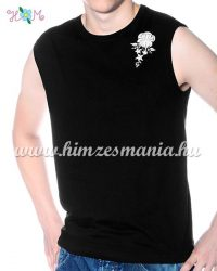 MEN SLEEVLESS T-SHIRT - hungarian folk machine-embroidery - Kalocsa rosa - black