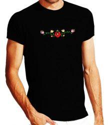 Men's Short Sleeve T-Shirts - hungarian folk embroidery - Matyo motif - black