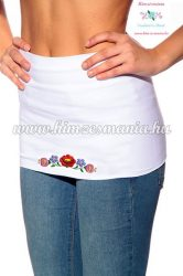 Waist Warmer - hungarian folk embroidery - Kalocsa style - white