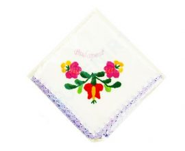 Handkerchief - hungarian folk embroidery - Matyo style - purple