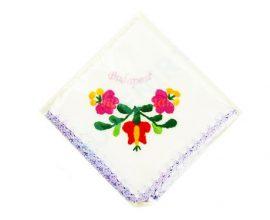 Matyó mintás hímzett zsebkendő - lila szegéllyel