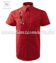Piros rövid ujjú férfi ing kalocsai hímzéssel - Hímzésmánia