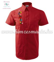 Men's shirt - hungarian folk - hand embroidery - Kalocsa pattern - red