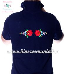 Men's pique polo shirt - folk machine embroidery - Kalocsa style - navy - Embroidery Mania