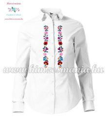 Kalocsai női ing - hosszú ujjú - fehér - gépi hímzés