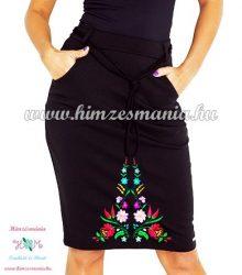 Elegant skirt - hungarian folk embroidered - Kalocsa pattern - black
