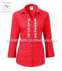 Womens 3/4 sleeve shirt - hungarian folk machine embroidery - Kalocsa design - red