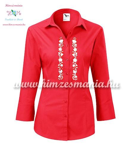 c1608f4325 Piros női ing fehér kalocsai mintával - gépi hímzés - Hímzésmánia ...