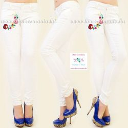Jeans for women - hungarian folk - machnine embroidery - kalocsa style - cream
