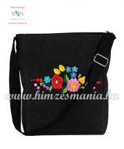 Shoulder bag - hungarian folk embreoidered - Kalocsa style - black