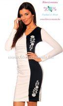 Elegant dress long sleeve - hungarian folk machine-embroidery - Kalocsai style - cream