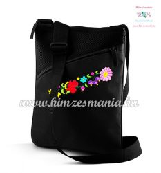 Kalocsai mintás tablet táska - kézi hímzés - fekete