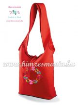 Cotton canvas tote bag - hungarian folk embroidered - Kalocsa style - Red
