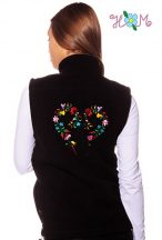 Embroidery Mania - Fleece vest - folk embroidery from Hungary - black