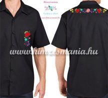 Men's short sleeve shirt - hand embroidery - folk motif - Kalocsa style - black